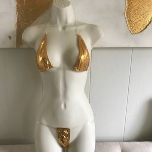 Other - New shiny GOLD G string bikini set w/ CLEAR STRAPS